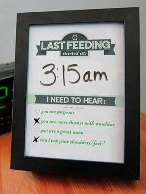 Breastfeeding dry erase frame. Keep up with your feedings and get a little something in return lol. Cute.