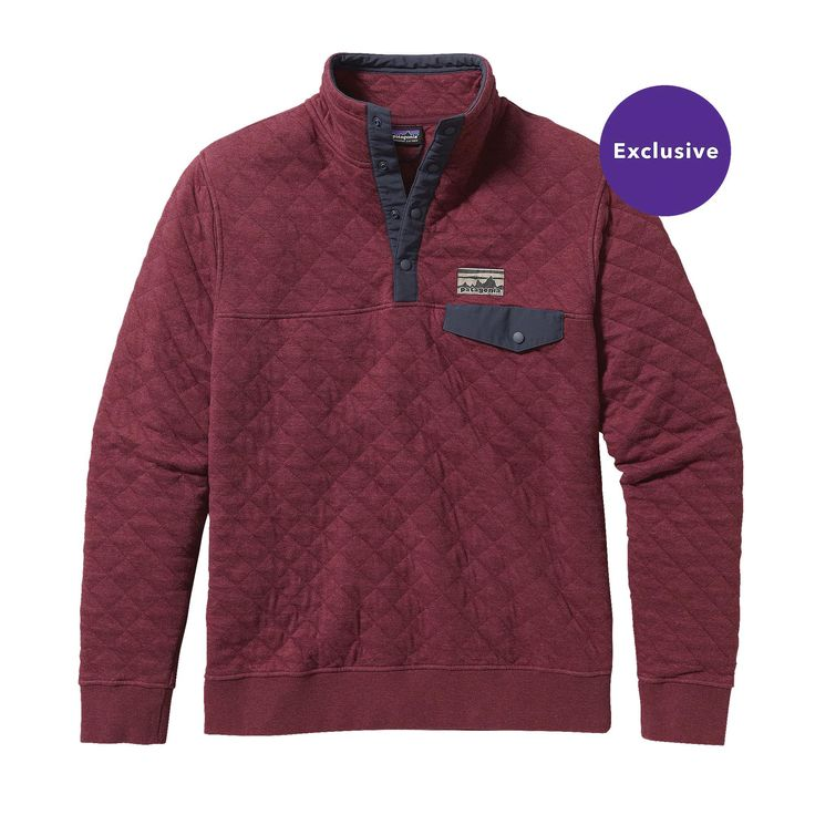 For everyday layering warmth, check out our soft organic cotton, diamond-quilted Men's Cotton Quilt Snap-T Pullover at Patagonia.com.