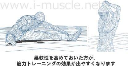 柔軟性を高めておいた方が、筋力トレーニングの効果が出やすくなります