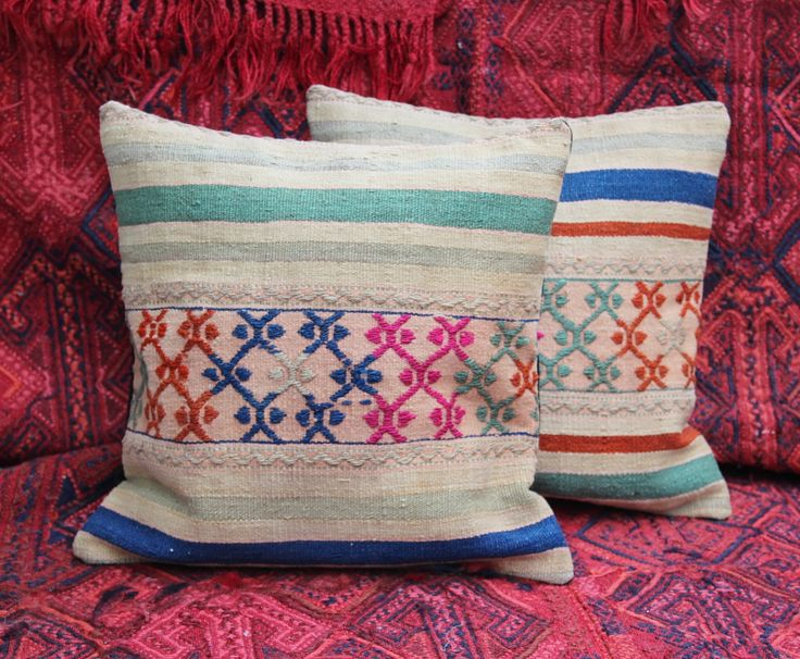 TURKISH KILIM CUSHION SET OF TWO, BOHO CUSHION SET, BOHO KILIM CUSHION, KELIM CUSHION, BOHO DECOR, HOME DECOR