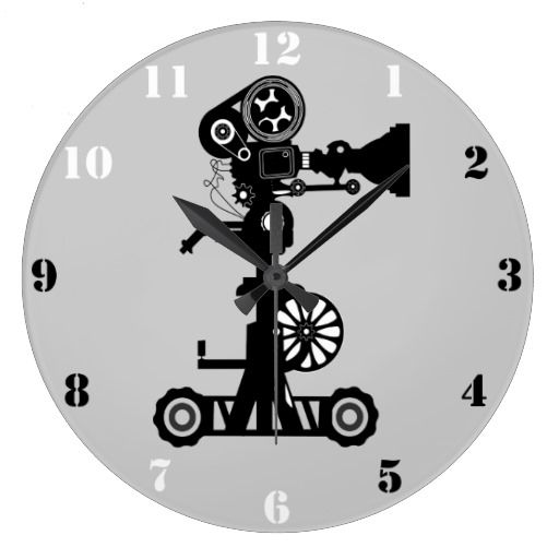 A funky, Urban Style, grey Wall Clock with black and white numerals, and the illustration of a Retro cine camera. $30.95 #moviecamera #cinecamera #cinema #clock http://zazzle.com/movie_camera_wall_clock-256787095726232623