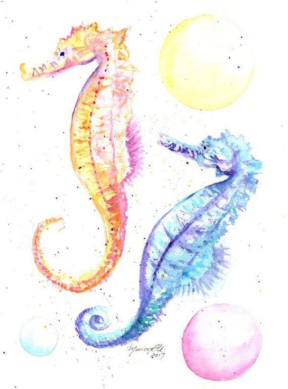 Seahorses Original Watercolor Seahorse Paintings Nursery Art Childrens Art Baby S Room Origin Seahorse Painting Nursery Paintings Arches Watercolor Paper