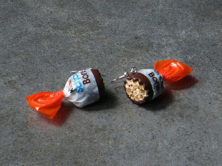 Boucle d'oreille bonbon au chocolat en fimo Argent 925 : Boucles d'oreille par jl-bijoux-creation