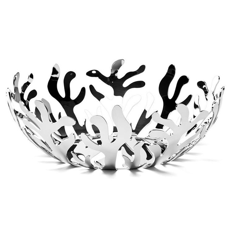 """""""The #mediterraneo #fruitbowl is #designed by #emmasilvestris of #lpwk for #Alessi. It comes in a mirrored stainless steel finish as well as coloured epoxy…"""""""