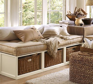 idea for captains beds in basement or tippy top, or seating/storage in basement game room -- just not this wide.