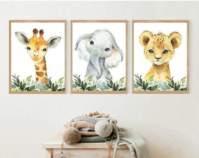 Safari Nursery Prints Set Of 6 Prints Nursery Decor Nursery Etsy Safari Animal Prints Nursery Nursery Animal Prints Safari Animals Nursery