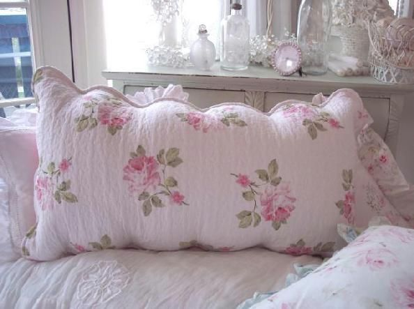 shabby chic quilts and comforters | SHABBY BEACH COTTAGE PINK ROSES CHIC LONG QUILT PILLOW