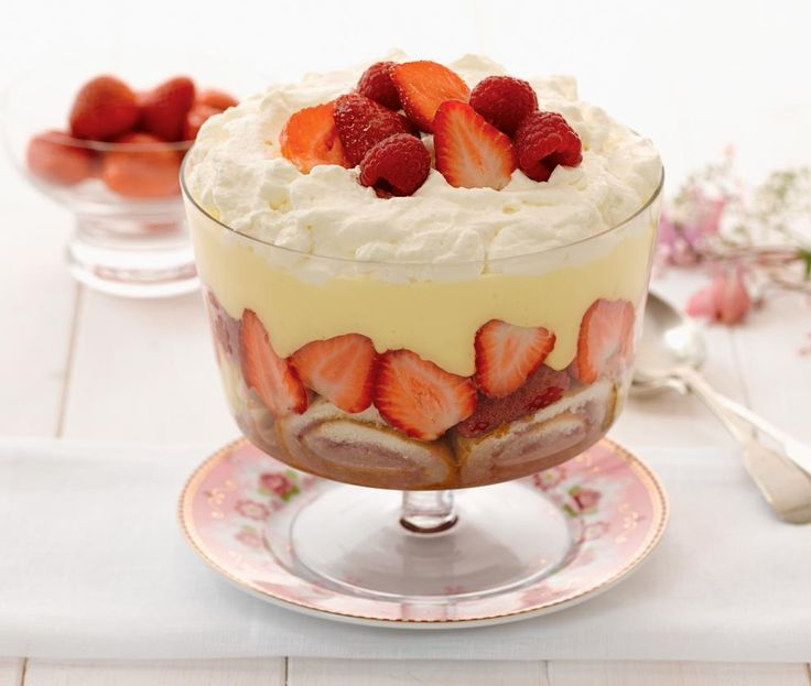 cheat's trifle with swiss roll, ready made custard, strawberries and raspberries