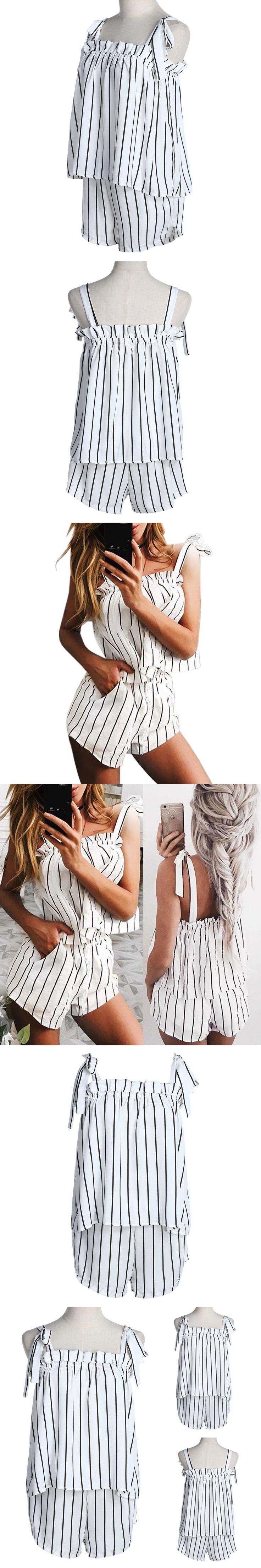2018 Women's Elegant Stripe Jumpsuit Romper Off Shoulder 2pcs uit White Bow Sexy Summer Beach Playsuit Outfit