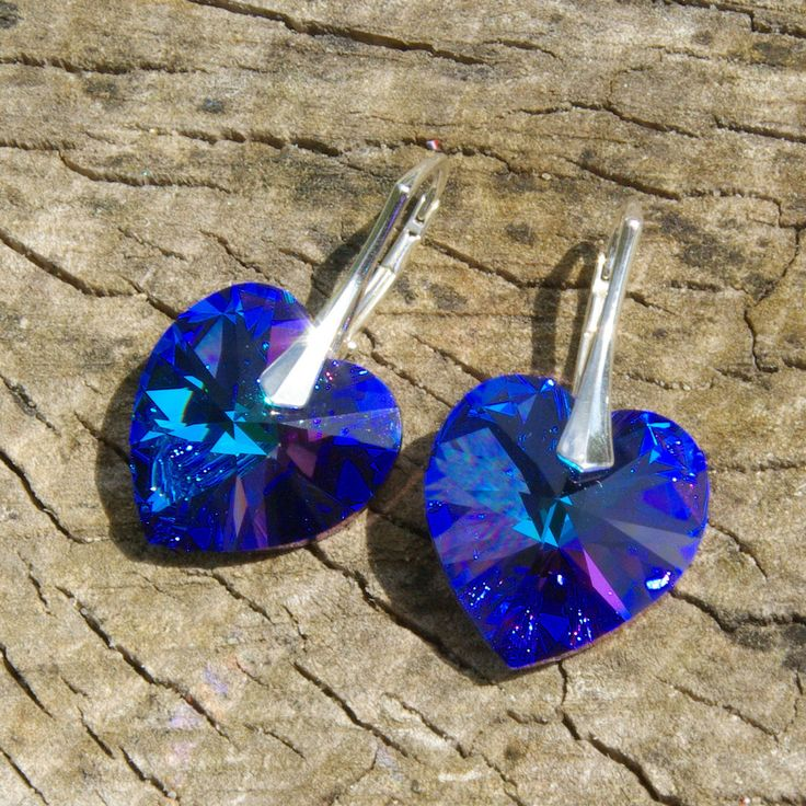 Swarovski Heart Earrings, Purple Blue Heart Earrings, Heliotrope Swarovski Crystal Earrings, Blue Swarovski Earrings, Crystal Heart Earrings by AuroraCrystalPassion on Etsy