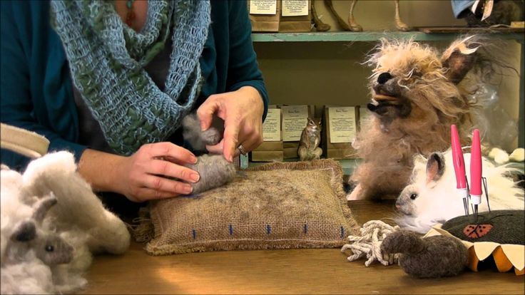 Needle Felting Instruction:  Bunny Puff Episode 1, Body Head and Legs by...Great instructions, but the fake dog freaks me out.