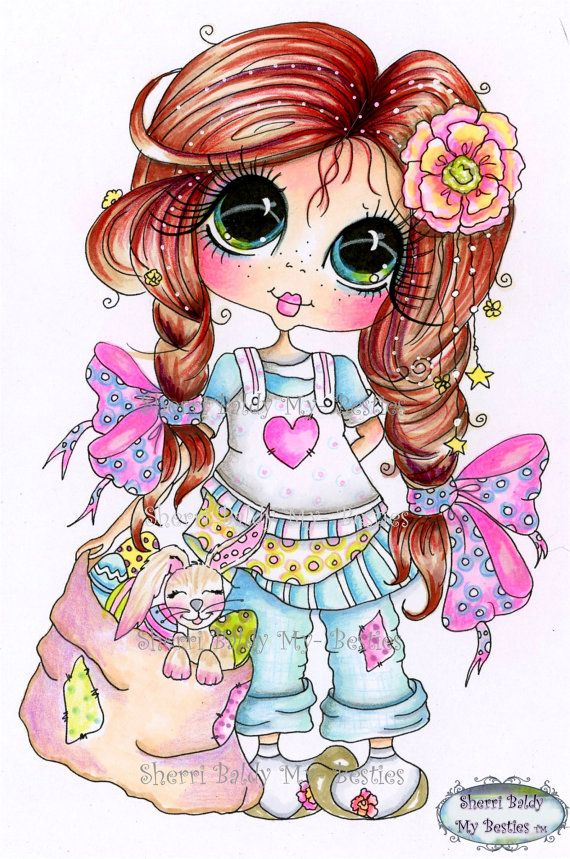 INSTANT DOWNLOAD Digi Stamps Big Eye Big Head Dolls by SherriBaldy, $4.00