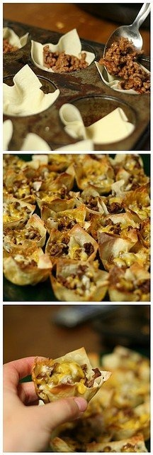 step 1: cook 1 lb ground beef w/ taco seasoning. step 2: use non-stick spray on muffin tin - place wonton wrappers in muffin tin. step 3: fill uncooked wontons with beef & shredded cheese step 4: bake @350 for 8 minutes step 5: nom nom nom