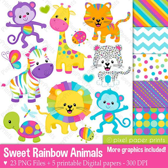 Sweet Rainbow Animals Clipart - Clip Art and Digital paper set