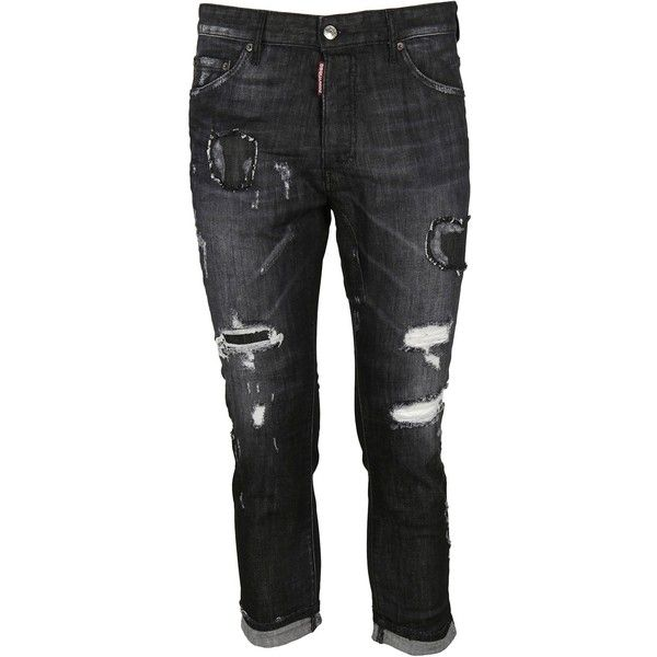 Glam Head Jeans ($295) ❤ liked on Polyvore featuring men's fashion, men's clothing, men's jeans, mens patched jeans and mens flap pocket jeans