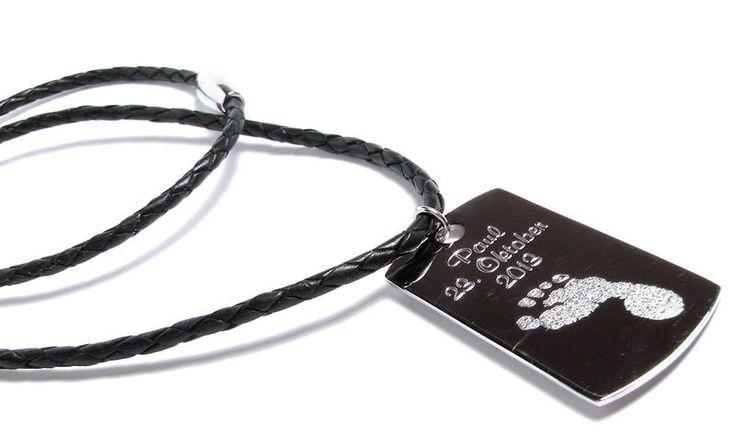 Halsbänder - p761 Halskette Leder Männer geflochten Fußabdruck - ein Designerstück von LEDER-Schmuck bei DaWanda