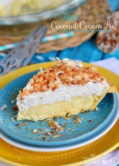 BEST Coconut Cream Pie EVER! Made with coconut milk for extra creamy, coconut flavor! | MomOnTimeout.com