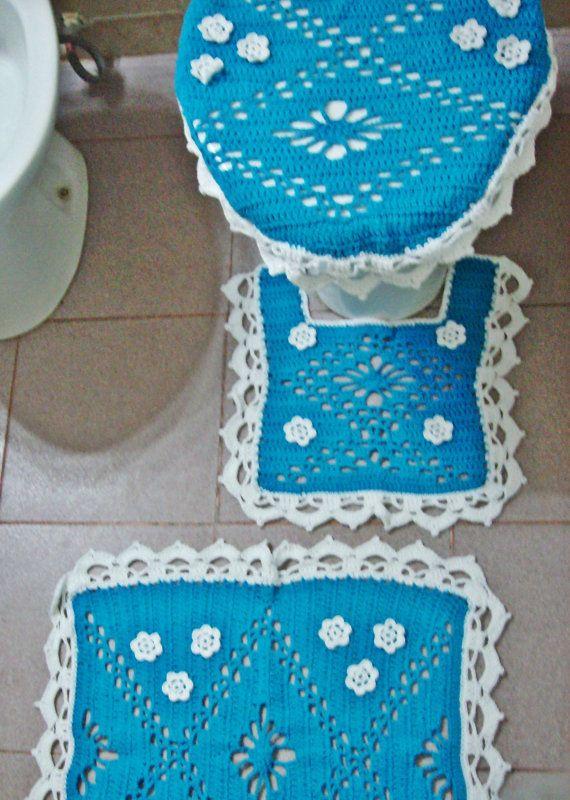 Bath Set Crochet Cover Cozy Tolilet Tank Lid Rug Toilet Seat Contour