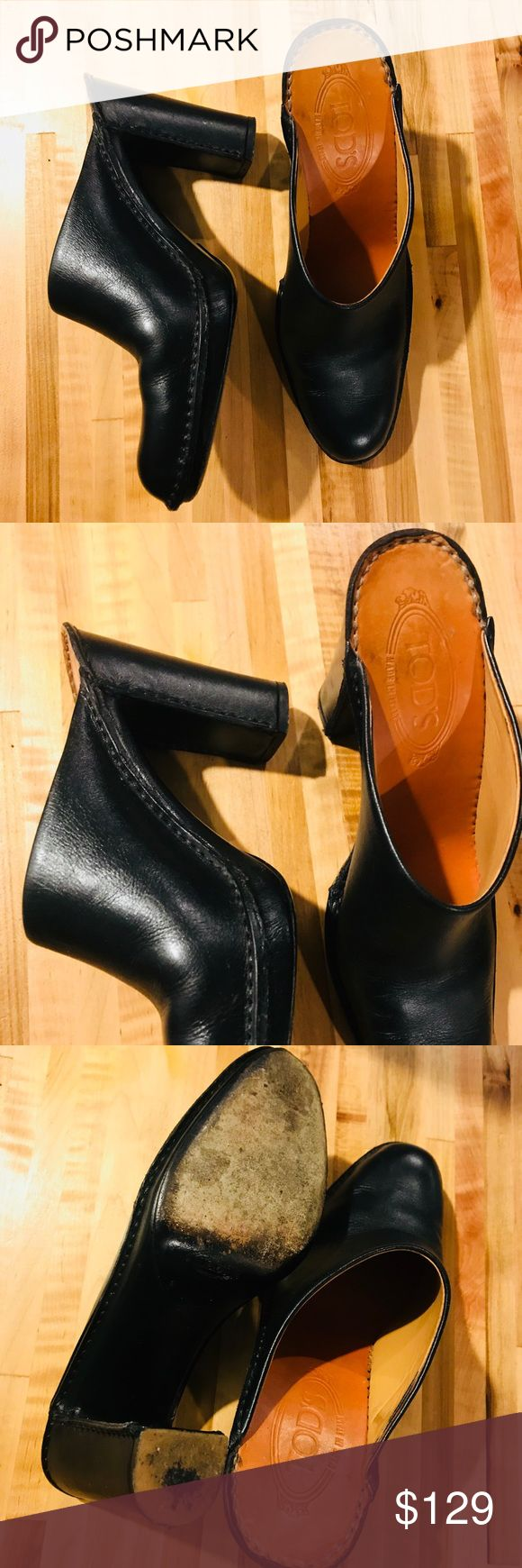 Tod's Women's Black Leather Pointed Toe Clog Mule Tod's Women's Black Leather Pointed Toe Heeled Clog Mule. Gorgeous and in excellent condition. Right on trend. Size 8 Tod's Shoes Mules & Clogs