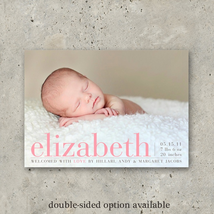 """baby girl birth announcement photo card - """"Printed Cards:  Pretty Perfect"""" Love the simplicity"""