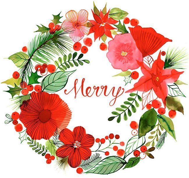 Margaret Berg Art: Christmas+Wreath+Merry+: