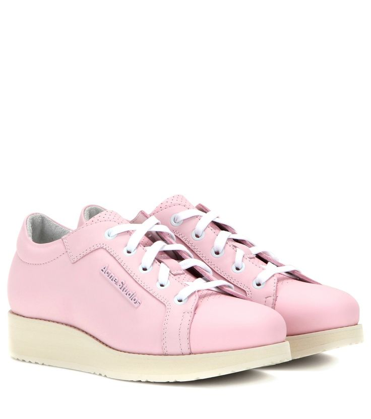 Acne Studios - Kobe leather sneakers - Master chic footwear in the 'Kobe' sneaker from Acne Studios. The lace-up design incorporates a perforated leather tongue into the pink leather design, plus a cool platform sole that locks in the retro vibe. Style with smart trousers or casual denim. seen @ www.mytheresa.com