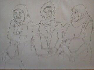 Drei türkische Frauen und ein Kind  Lalula,Bleistift,August2014