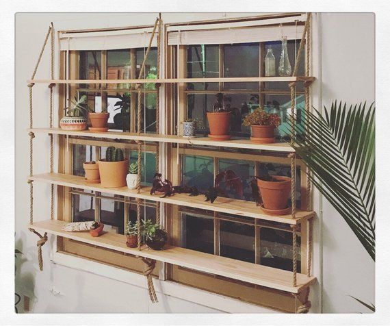 Custom Light Pine Rope Hardware Minimilist Hanging Etsy Glass Shelves Hanging Shelves Shelf Unit
