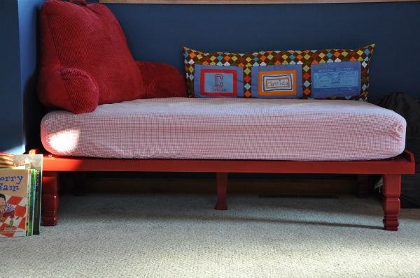 Another crib mattress turned kid or adult seating.  I so want this (not in those colors, clearly) in the corner of my living room.