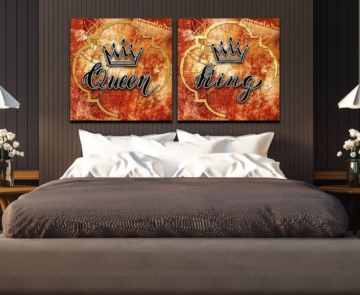 King And Queen Crown Wall Decor Canvas Wall Art In 2020 Crown