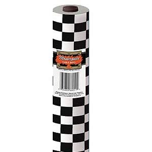 Black U0026 White Checkered Tablecloth Roll (Plastic)