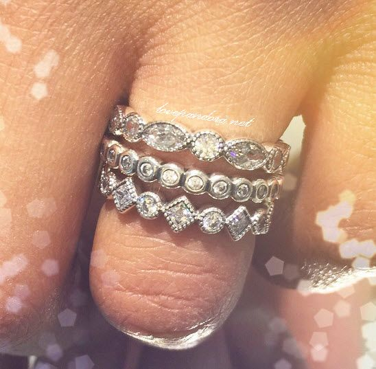 Pandora stackable rings featuring Alluring Brilliant Marquise, Alluring Petite Brilliant, and Alluring Petite Princess