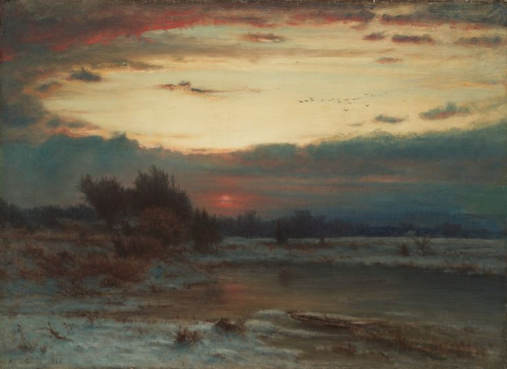 Amazoncom George Inness A Winter Sky 1866 HandPainted Art Reproduction with Oil on Canvas 22x305 in 56x775 cm Paintings