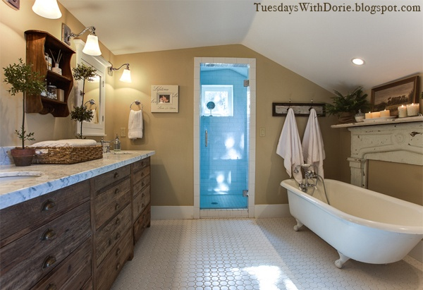love this bathroom: Rustic Chic Bathrooms, Bathroom Mantle, Rustic Bathroom, Cottage, Bathroom Designs, Bathroom Remodel, Bathroom Ideas, House Idea, Bath Time