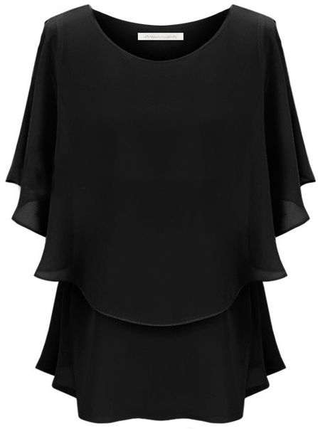 Black Off the Shoulder Ruffles Chiffon Blouse