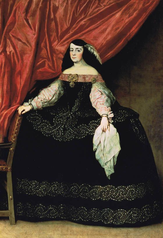 Juan Carreño de Miranda (Avilés, Asturias, 1614 - Madrid, 1685) Maria de Vera and Gasca h. 1670 -  wife and heir of Juan González de Uzqueta and founder of the convent of the Discalced Carmelites Majadahonda, is depicted standing, wearing a black suit with luxury decorated guardainfante embroidered with silver bands.
