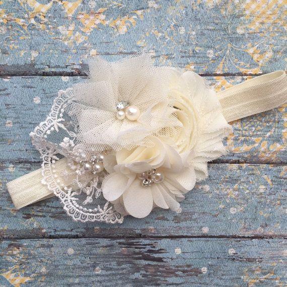 Ivory baby headband- ivory headband- ivory newborn headband-ivory vintage lace…