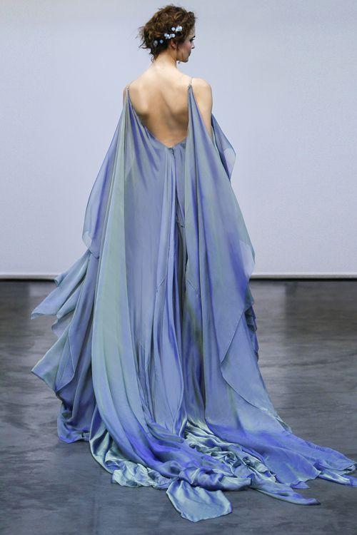 Carol Hannah   Ianassa Gown   Iridescent silk chiffon wave gown in Moray