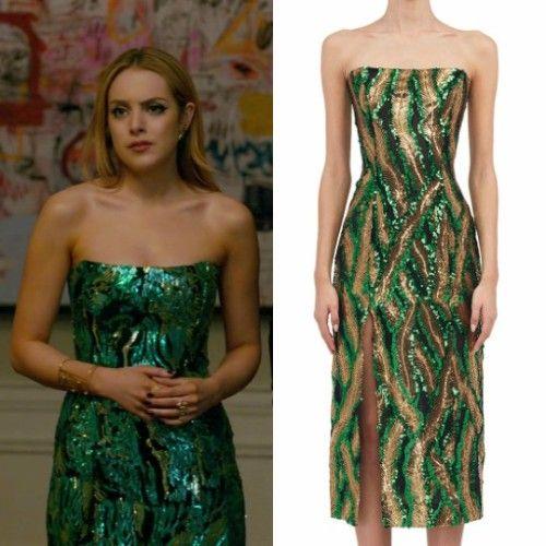 486b62c3e92 Fallon Carrington wears this Halpern strapless sequined side-slit midi dress  on Dynasty 1x18