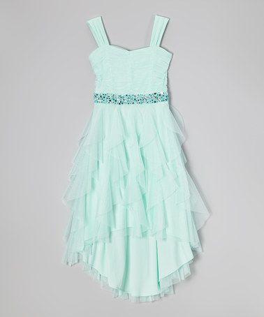 Look what I found on #zulily! Mint Rhinestone Sweetheart Dress - Girls #zulilyfinds