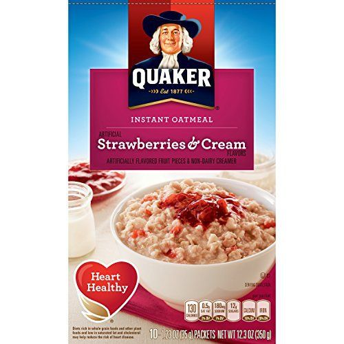 Quaker Instant Oatmeal, Strawberry and Cream, 10 Count (Pack of 4) - http://sleepychef.com/quaker-instant-oatmeal-strawberry-and-cream-10-count-pack-of-4/