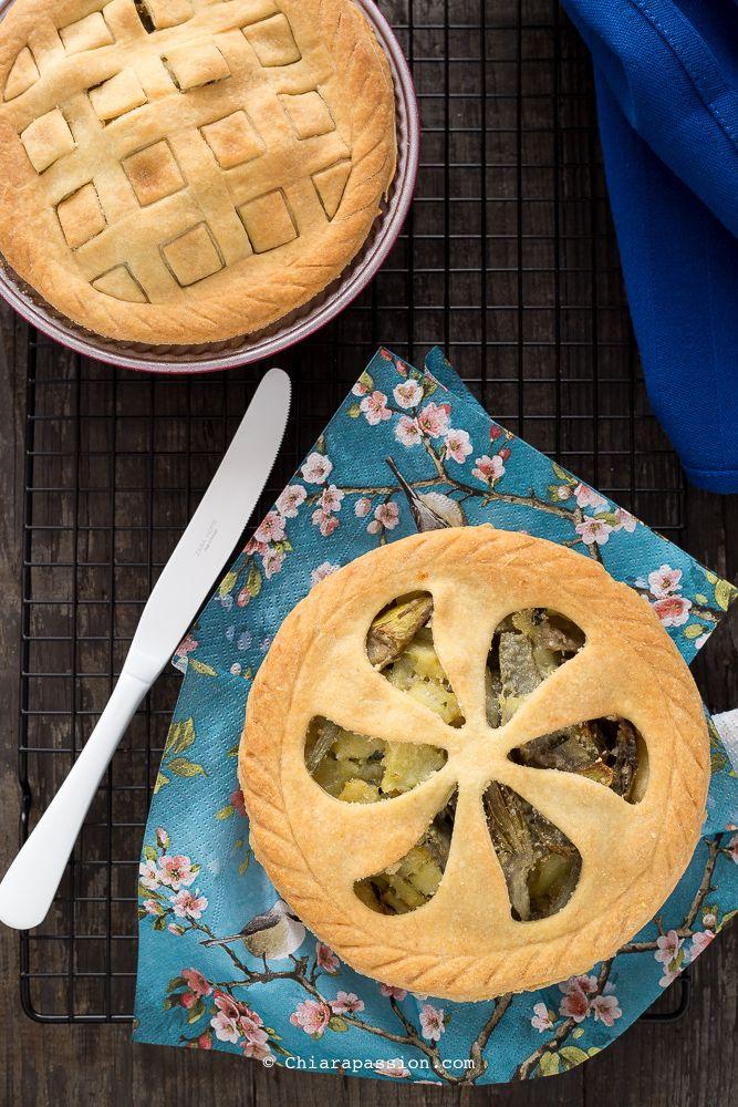 Torta salata patate e carciofi (senza uova e senza burro) - Pie crust, Nordic Ware - Chiarapassion