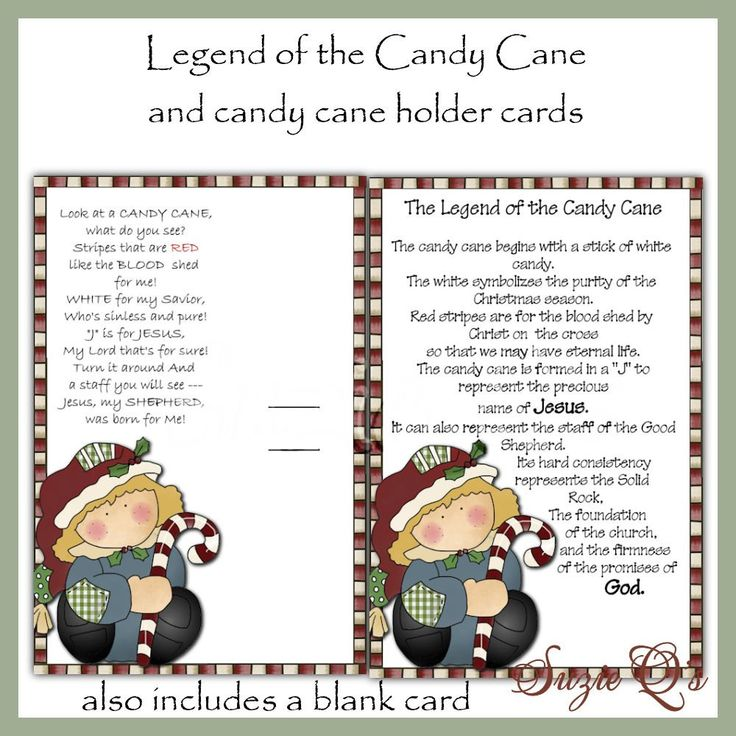 Legend of the Candy Cane Card - Digital Printable. $1.50, via Etsy ...