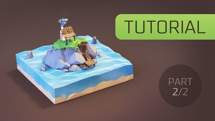 [Tutorial] Creating Low Poly (stylised) Cartoon Hut on the Island in Ble...