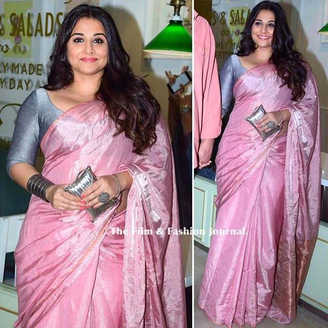 #VidyaBalan looked breathtaking in a saree from @anavila_m during the success party of #Neerja Jewelry: @amrapalijewels Stylist: @who_wore_what_when - #fashion #bollywood #clothing #movie #india #saree #ootd #hair #makeup #vidya #saree #pink #anavila #earrings #clutch