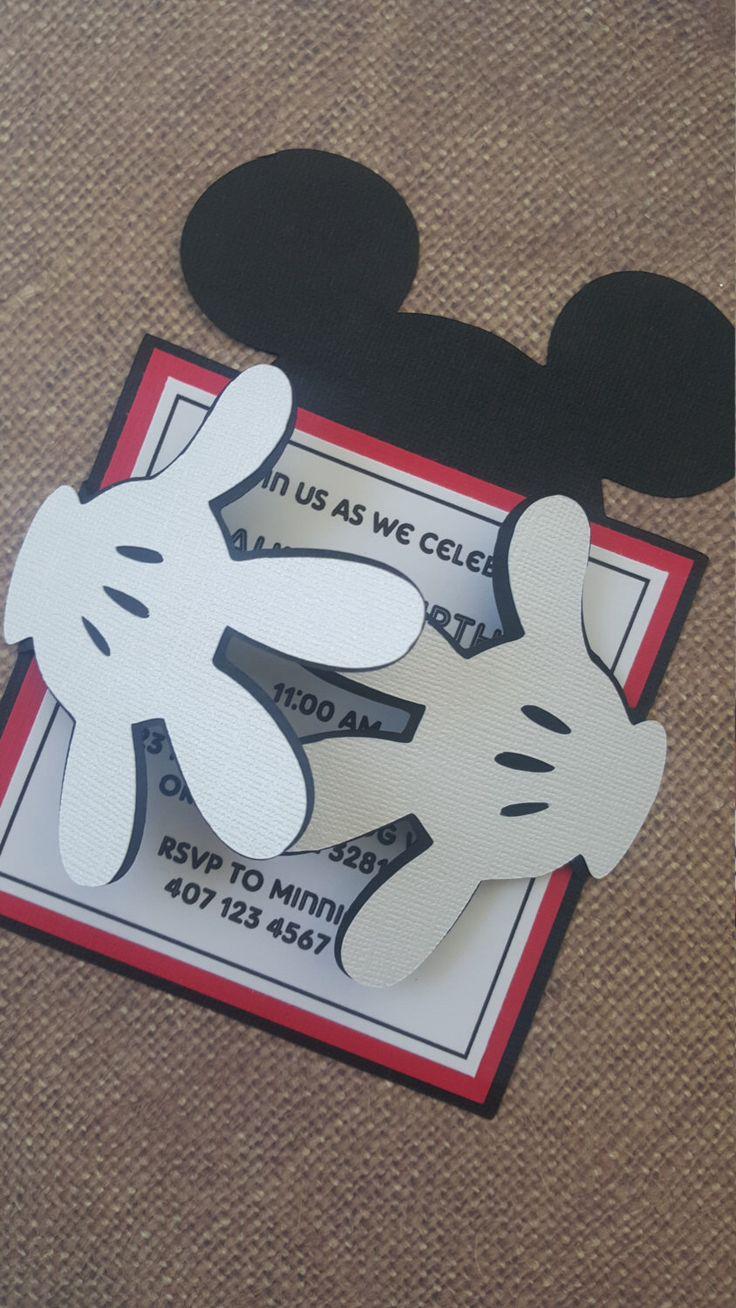 24x Mickey Mouse Invitations de MyPrettyLittleParty en Etsy https://www.etsy.com/es/listing/250272033/24x-mickey-mouse-invitations                                                                                                                                                      Más