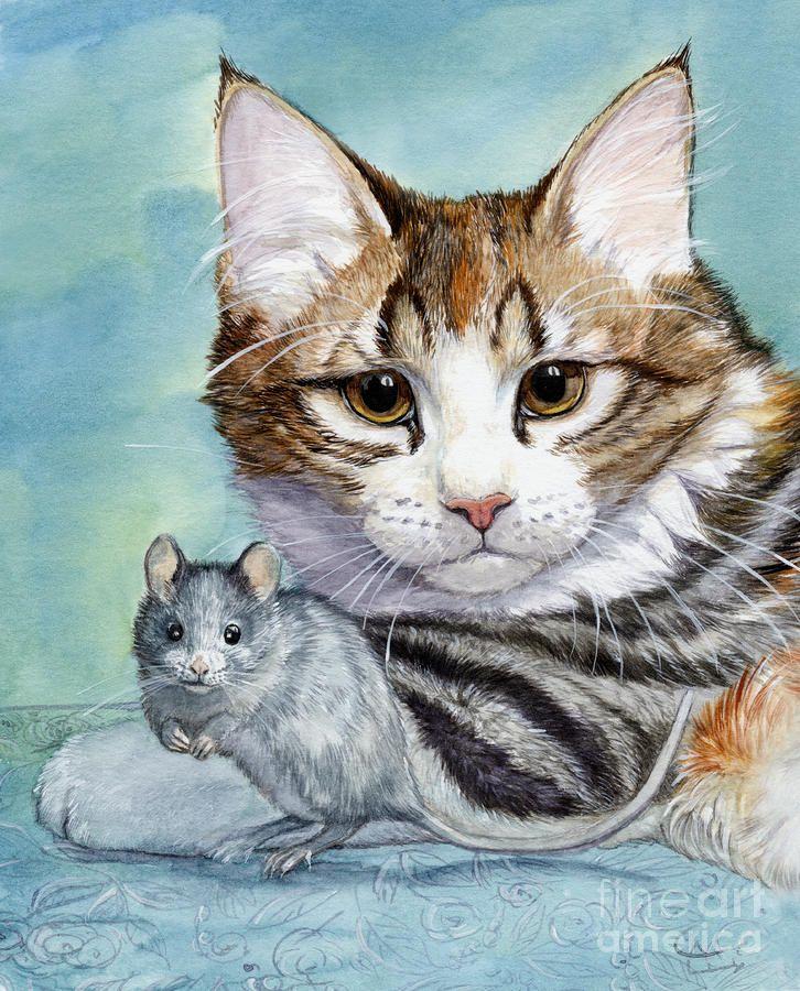 Cat And Mouse Painting  - Svetlana Ledneva-Schukina