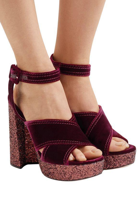 c47a9ce071a6 MIU MIU Glitter-trimmed velvet platform sandals