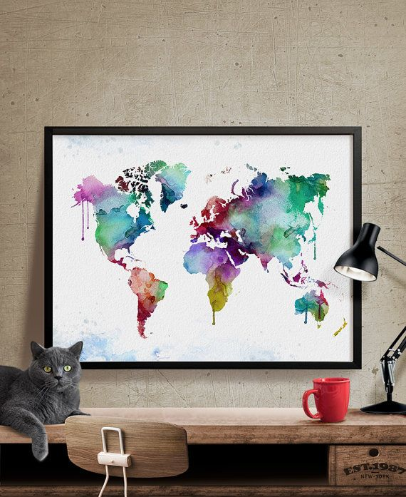 World Map Poster Watercolor World Map World Map by FineArtCenter