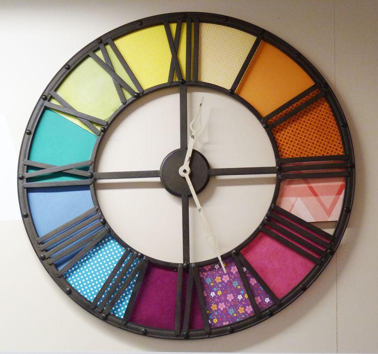 id e customiser une grande horloge avec de beaux papiers color s horloge pinterest. Black Bedroom Furniture Sets. Home Design Ideas